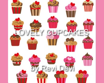 Cupcake clipart - Cupcakes clip art in pink, red, brown - commercial use - instant download