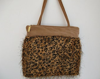 Leopard  Shoulder Bag Purse , Women's Handmade Handbag, Leopard Handbag , Leopard Print Purse , Zip Purse , Tan Trimmed Purse
