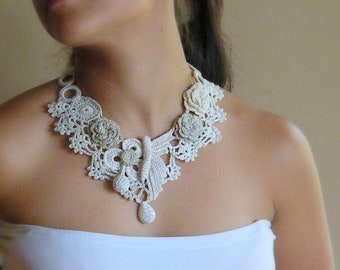 Crocheted Lace statement necklace, remember spring