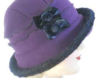 Fleece Flapper Cloche with Velvet Bows - Purple - Emma Rose