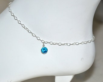 Silver Anklet, Sterling Silver, adjustable anklet-beach wedding jewelry, sterling silver chain, blue CZ, beach wedding