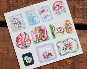 Vintage Unique Assorted Gummed Labels / Stickers - Set of 10 - Baby Shower, Wedding Shower