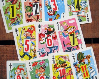 Vintage Funny Characters Crazy Eights Cards - Set of 11 - Bright Colors, Fun Illustrations