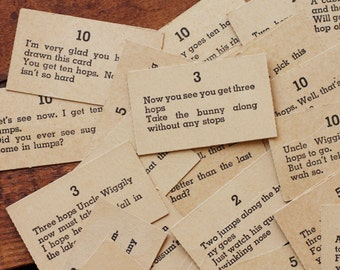 Vintage Uncle Wiggily Random Phrase Cards with Numbers - Random Set of 8