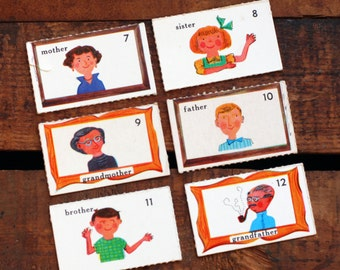 Vintage Family Flash Cards - Set of 6