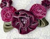 velvet flower bib necklace flower jewelry velvet flowers pink jewelry lavender jewelry kumihimo necklace kumihimo jewelry statement necklace