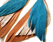 Leather Feather Earrings in dark turquoise, silver and tan- recycled