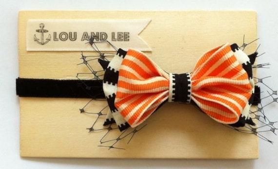 Baby bow headband - Halloween striped headband with grosgrain ribbon and velvet elastic