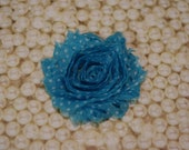 Chiffon Flower Hair Clip Turquoise With White Dot Frayed Shabby Chic Rosette Fabric Flower Clippie