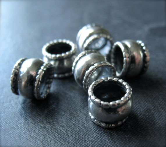 3 Solid Sterling Silver Ribbed Slider Tube Beads Oxidized