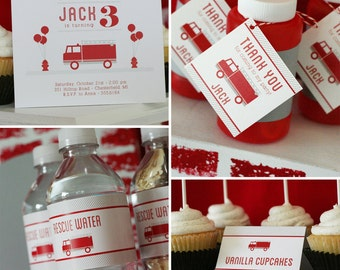 Fire Truck Birthday Party - PRINTABLE ONLY - Banner, Toppers, Tags, Invitation and more