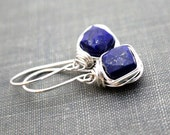 Lapis Lazuli Drop Earrings, Bezel Wrapped in Sterling Silver ,14k Gold FIlled , Rose Gold Fill , Cushion Cut Gemstones