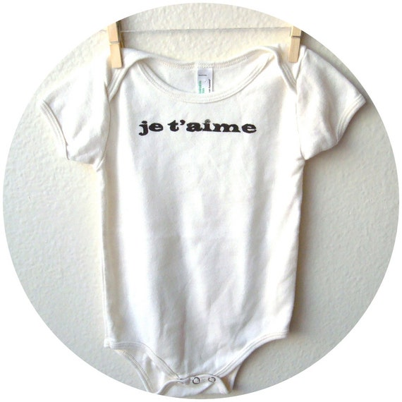 """SALE Organic Cotton Baby T-shirt. 12-18 MONTHS """"Je T'aime"""" in Natural"""