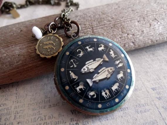 Pisces Locket, Zodiac Jewelry,