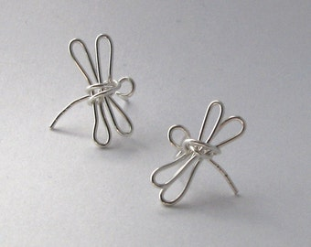 Dragonfly Earrings Sterling Silver Post Earrings Recycled Wire