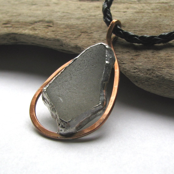 Sea glass necklace organic genuine recycled with copper border