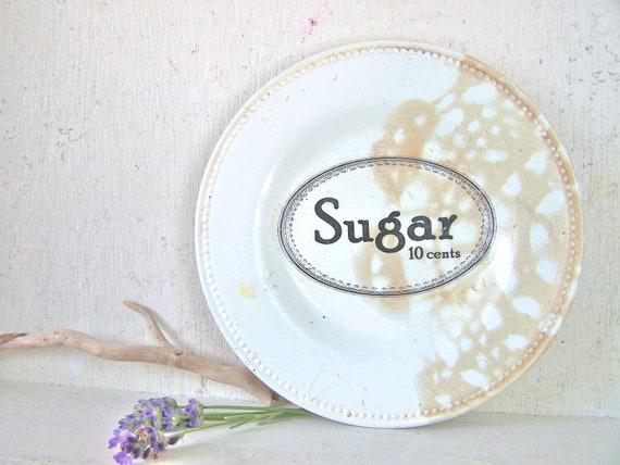 Vintage Kitchen Sugar Sign Farmhouse Wall Decor Shabby Chic Cottage Cream French Market