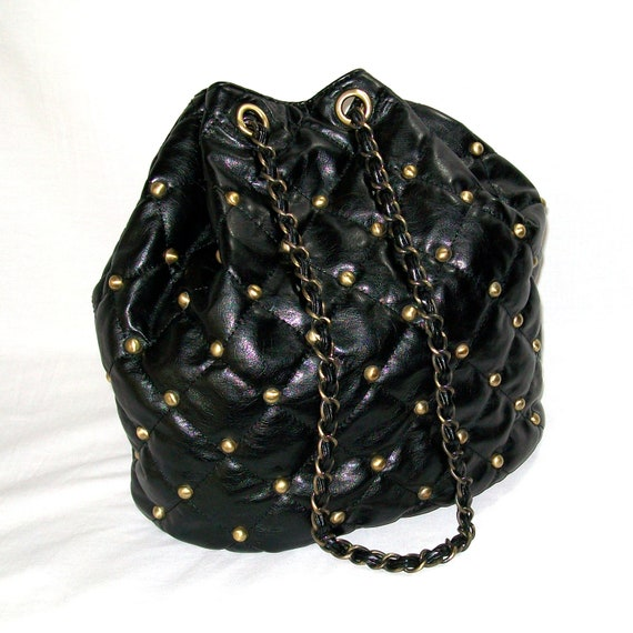 Faux Black Leather Quilted & Studded Vintage Bucket Bag Chain Strap 1990s