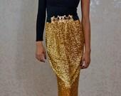 Gold Sequin Maxi Skirt