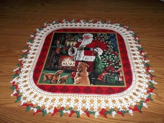 Crocheted Christmas Doily Santa Delivering Presents and Treat for the Dogs  22 inches Fabric Center Crocheted Edge Doilies