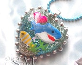 My Pet Shark - 100% DONATION to SHARKS.ORG, kawaii kitsch glitter resin necklace