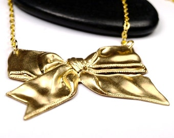 Bow Victorian Tie Necklace golden charm pendant stamping golden brass