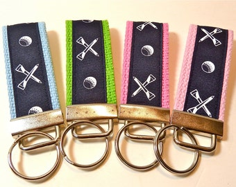 Golf - Mini Key Fob - Navy and White - Cotton Webbing - Golf gifts - Golf gifts for women