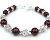Chocolate Brown Bridesmaid Bracelet, Bridesmaid Jewelry, Fall Wedding Jewelry, Autumn Accessory