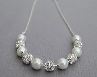 Bridesmaid Jewelry, Brides Pearl Jewelry, Pearl Rhinestone Necklace, Bridesmaid Gifts, Pick Your Own Color