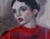 red dress, small original sketch in oil