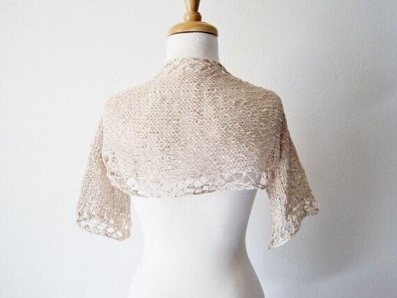 Seaside Bride Bridal Shrug in Shell - Women's Hand Knit Wedding Bolero in Loose Knit Ecru Cotton