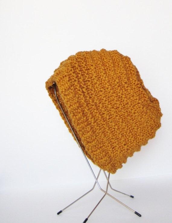 Pumpkin Spice Autumn Hand Knit Hat in Organic Cotton - Rust Orange Textured Beanie in Natural Fibers. Chunky Knit Hat.