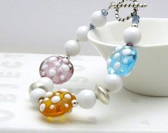 Pastel Dotted Lampwork Boho Beaded Bracelet Pastel Boho Sterling Silver Bracelet / Geometric