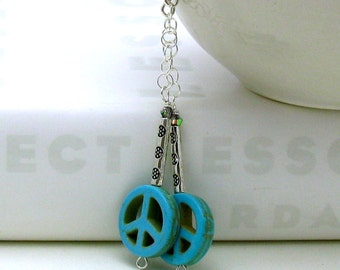 Turquoise Peace Sign Boho Dangle Earrings, Boho Beaded Peace Sign Drop Earrings, For Her Under 50, Inner Hippie