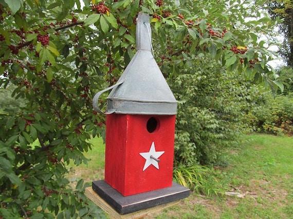 Primitive Birdhouse Antique Funnel Red Rustic Old Unique Folk Art Rustic The Tin Man