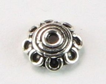Scalloped Dainty Bali Sterling Silver Bead Caps (6 beads)
