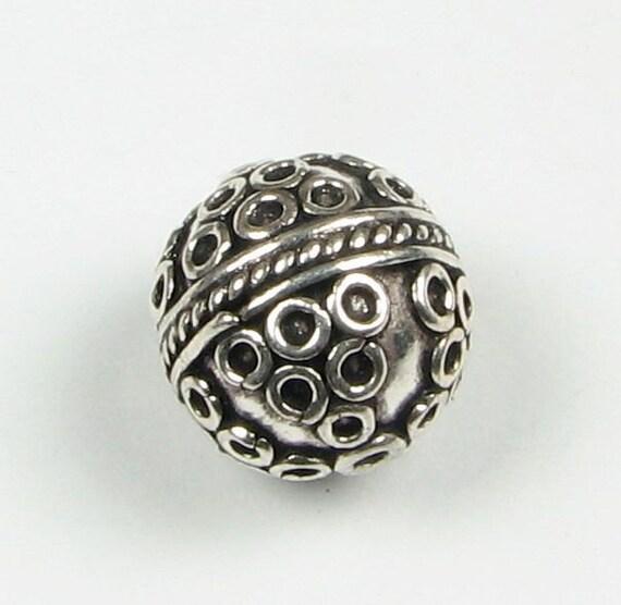 Lots of Circles Interesting Bali Sterling Silver Focal Bead 13mm (1 bead)