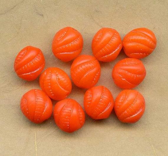 11 Orange Vintage Glass Beads, Molded, Etched, W German