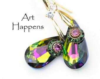 "Vitrail Swarovski Crystal Earrings with Watermelon Accents, Long Drop Earrings, ""Simmering"""