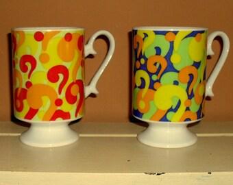 2 Footed Coffee Cups Mugs