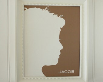 Custom Silhouette Print made from your photo - Personalized Silhouette Print Silhouette Portrait Simply Silhouettes