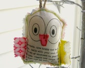 owl ornament, fabric owl, stuffed owl, fabric scrap owl, wise owl, appliqued owl, Christmas ornament - No. 169