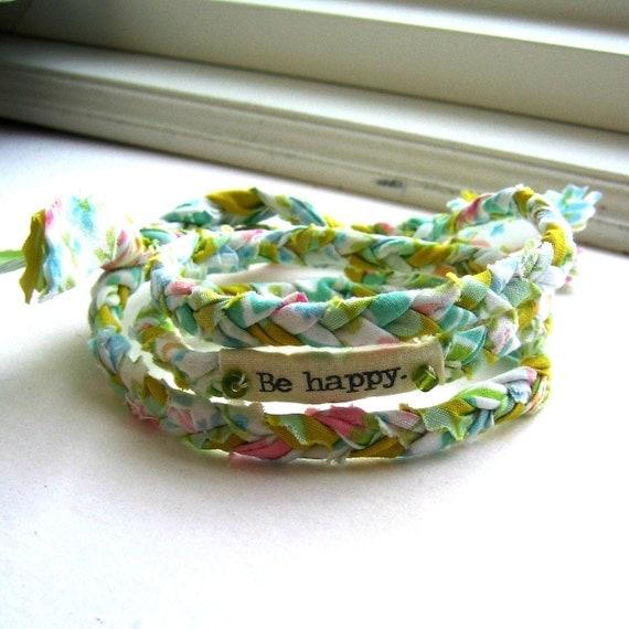 fabric braid bracelet, friendship bracelet, braided bracelet, wrist wrap, word bracelet, anklet braid, Be happy bracelet - No 36