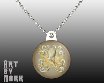 Pendant with Vintage Octopus sea life