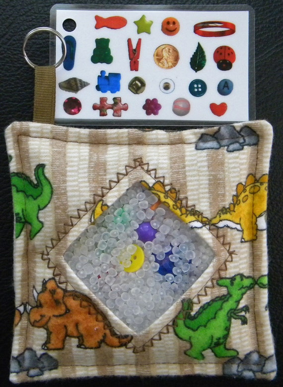 I Spy Bag - Mini with Sewn Word List and Detachable Picture/Word List- Dinosaur Days