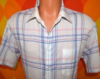 vintage 70s plaid shirt pastel short sleeve button down main stream Large hipster cowboy 80s