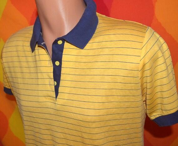 vintage 80s golf shirt gold striped polo hipster Medium par four soft thin