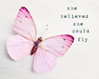 Butterfly photo, nursery wall art, girls room decor, pastel pink, inspirational art, butterfly decor, dreamy - She believed she could fly