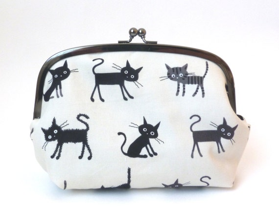 Black Cats Fabric Cosmetic Bag Clutch with Turquoise and Black Cotton Polka Dot Lining