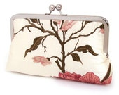 Valerie bloom clutch : Embroidered silk purse for wedding / bridal / party